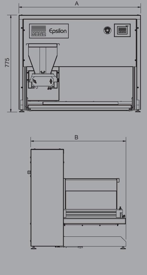 MONO | Epsilon Tabletop Confectionery Depositor Dimensions