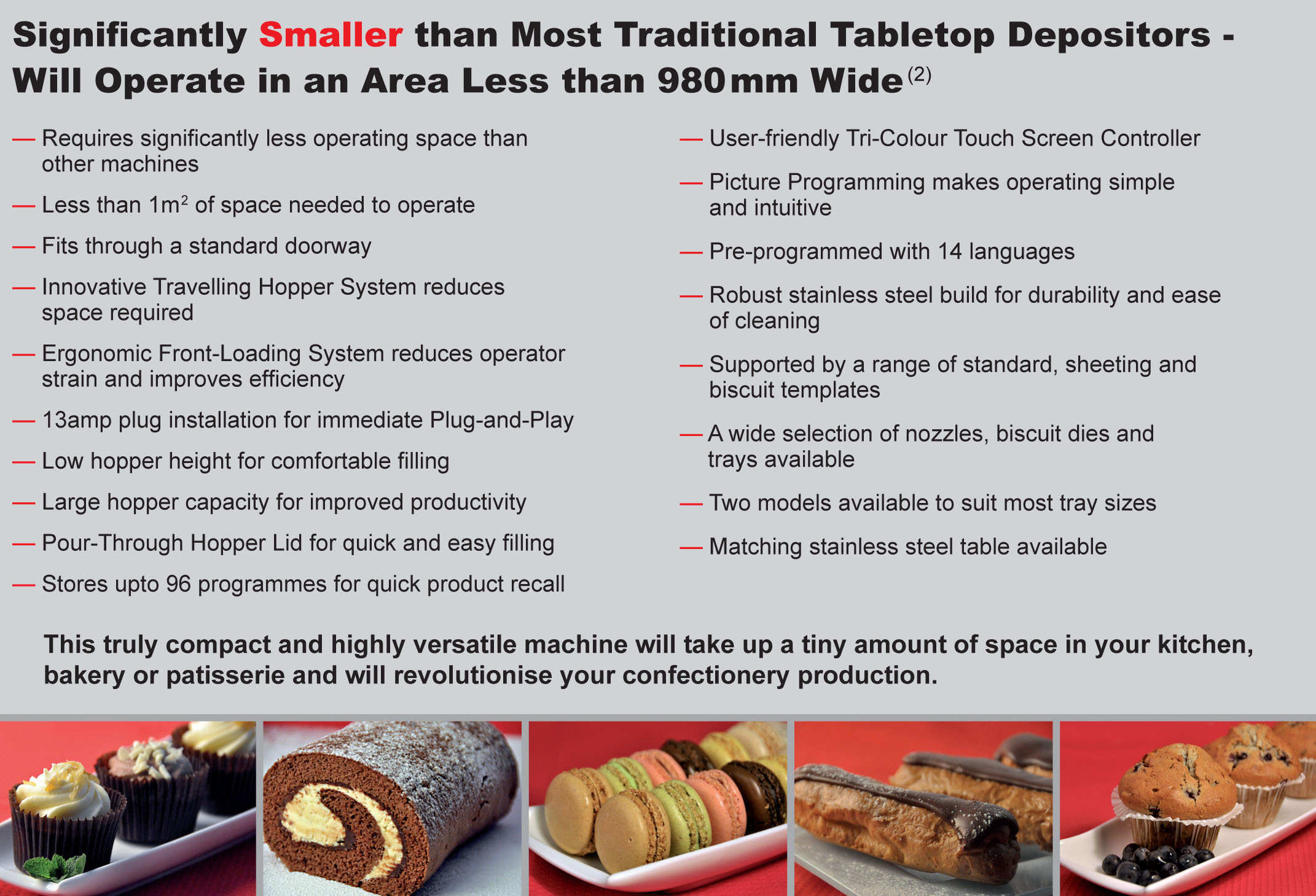 MONO | Epsilon Tabletop Confectionery Depositor Features