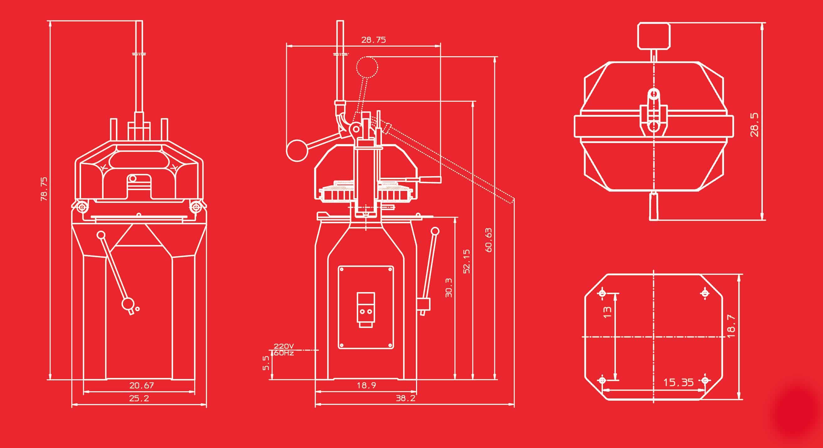SEMI/SEMI RH Divider/Rounder Dimensional Drawings
