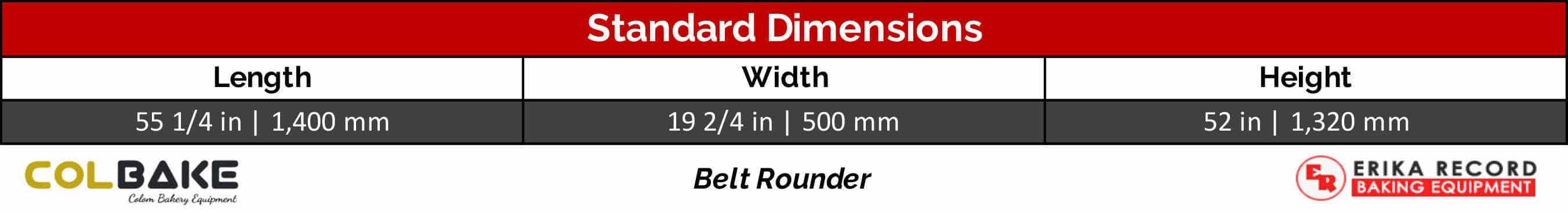 Colbake Belt Rounder Standard Dimensions