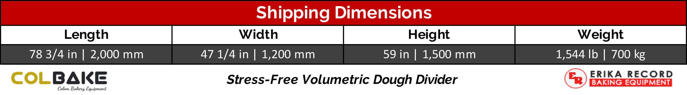Colbake Volumetric Dough Divider Shipping Weight & Dimensions